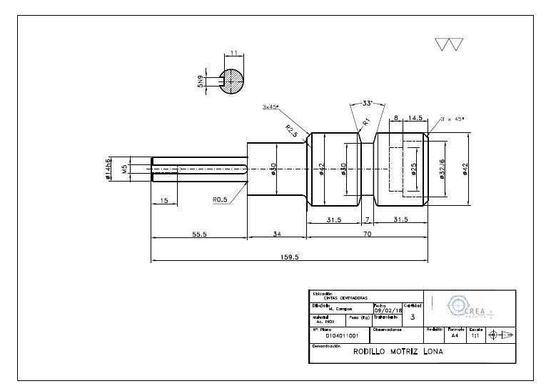 Plano fabricación piezas mecánicas
